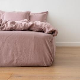 Gewaschene Bettwäsche Bettlaken mit Gummizug Dusty Rose