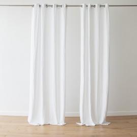 Leinenvorhang mit Ösen Terra White