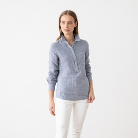 Blue White Gingham Leinenhemd Fabio