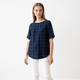 Navy Off White Window Pane Leinen Bluse Luisa
