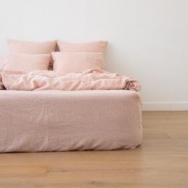 Leinen Bettlaken Mit Gummizug Gewaschene Melange Rosa