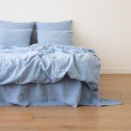 Leinen Bettbezug Gewaschene Melange Blue
