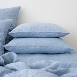 Leinen Kissenbezug Gewaschene Melange Blue