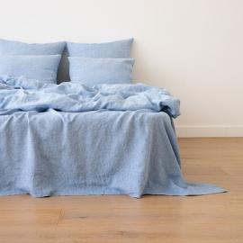 Leinen Bettlaken Gewaschene Melange Blue