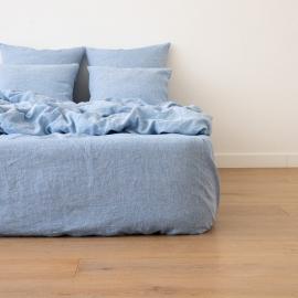 Leinen Bettlaken Mit Gummizug Gewaschene Melange Blue