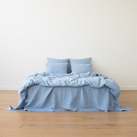 Leinen Bettset Gewaschene Melange Blue