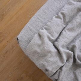 Leinen Bettlaken Mit Gummizug Gewaschene Melange Graphite
