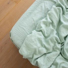 Leinen Bettlaken Mit Gummizug Gewaschene Melange Mint