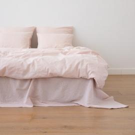 Leinen Bettbezug Pinstripe Washed Rosa