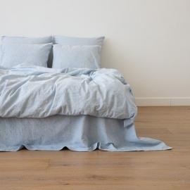 Leinen Bettbezug Pinstripe Washed Blue