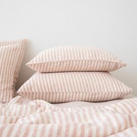 Leinen Kissenbezug Ticking Stripe Rosa