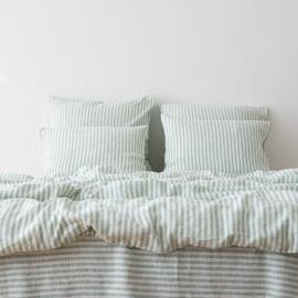Leinen Bettbezug Ticking Stripe Mint