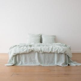 Leinen Bettlaken Ticking Stripe Mint