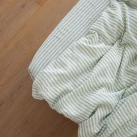 Leinen Bettlaken Mit Gummizug Ticking Stripe Mint