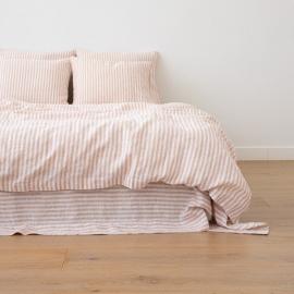 Leinen Bettbezug Ticking Stripe Rosa