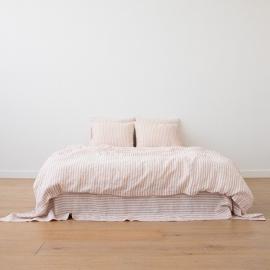 Leinen Bettset Ticking Stripe Rosa