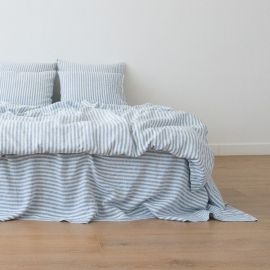 Leinen Bettbezug Ticking Stripe Blue
