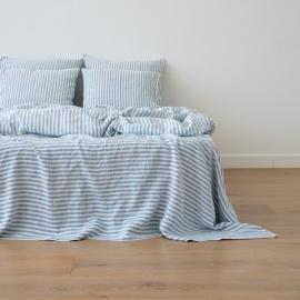 Leinen Bettlaken Ticking Stripe Blue