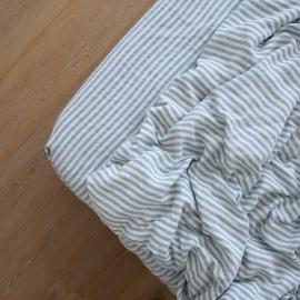 Leinen Bettlaken Mit Gummizug Ticking Stripe Blue
