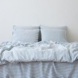 Leinen Bettset Ticking Stripe Blue
