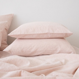 Leinen Kissenbezug Pinstripe Washed Rosa