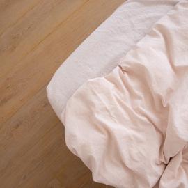 Leinen Bettlaken Mit Gummizug Pinstripe Rosa