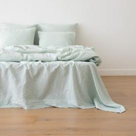 Leinen Bettlaken Pinstripe Washed Mint