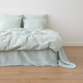 Leinen Bettbezug Pinstripe Washed Mint