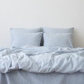 Leinen Kissenbezug Pinstripe Washed Blue