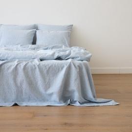 Leinen Bettlaken Pinstripe Washed Blue