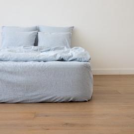 Leinen Bettlaken Mit Gummizug Pinstripe Blue