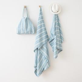 Leinen Strandtasche Multistripe Marine Blue