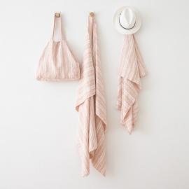 Leinen Strandtasche Multistripe Rosa