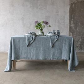Balsam Grün Tischdecke Leinen Stone Washed Rhomb