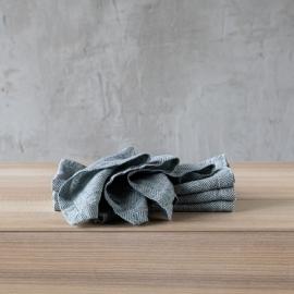 Balsam Grün Leinen Serviette Stone Washed Rhomb