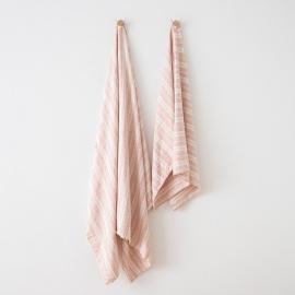 Leinen Strandtücher Multistripe Rosa