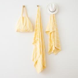 Leinen Strandtasche Multistripe Yellow