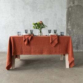 Brick Leinen Tischdecke Terra mit Handgemachten Fransen