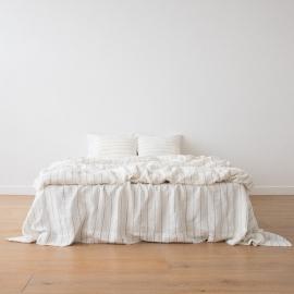 Leinen Bettset Large Striped Washed White Navy