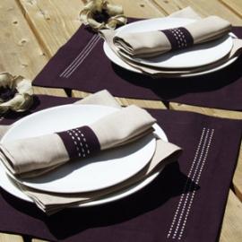 Stitch Aubergine & Sand Collection