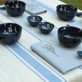 Jazz Blue Striped Tablecloth and Napkins