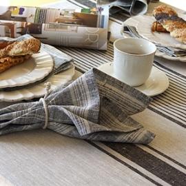 Provance Tablecloth Black and Multistripe Napkin