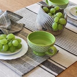 Provence Runner and Multistripe Placemat Black