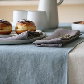 Cream Linen Tablecloth, Runner Lake Blue, Napkins Natural Lara