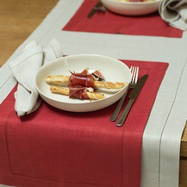 Emilia Runner and Napkin Sand Placemat Red