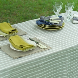 Brittany Tablecloth Natural Off White and Lara Napkins Celery and Chambray