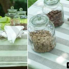 Tuscany Tablecloth, Linen Napkins and Runner Philippe Grey