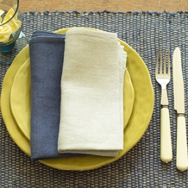 Lara French Blue Placemat & Napkins Deep Blue, Silver