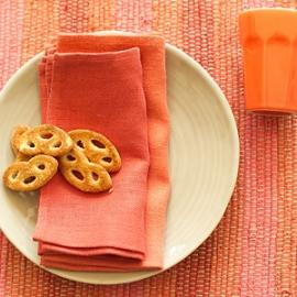 Lara Red Multicolour Placemat & Napkins Orange, Tangerine