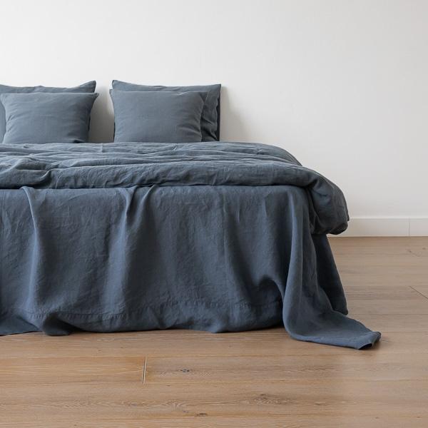vorgewaschenes blau leinen bettlaken bettleinen linenme. Black Bedroom Furniture Sets. Home Design Ideas